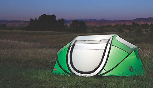 Pop up tent with light inside
